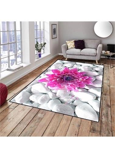 Halı Pembe Çiçek Dekoratif Modern 3D Salon Halıları 80X150Cm Renkli